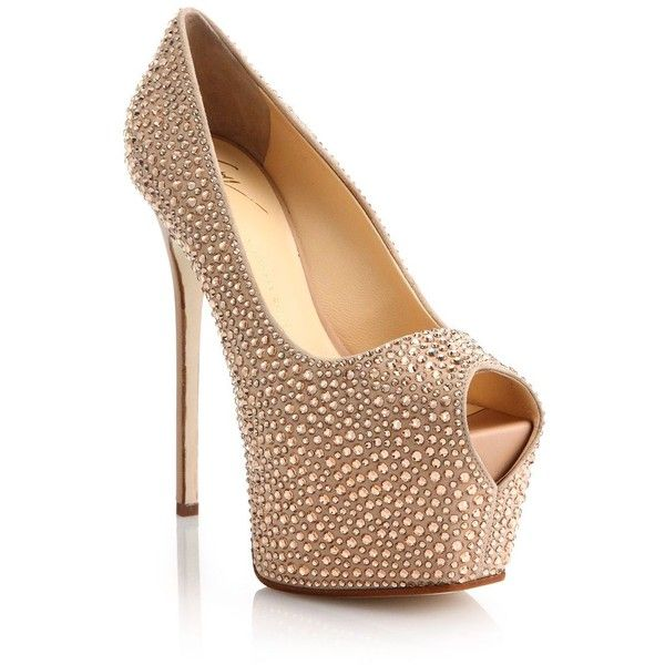 Giuseppe Zanotti Rhinestone Suede Platform Pumps (100,560 MKD) ❤ liked on Polyvore featuring shoes, pumps, apparel & accessories, rose gold, suede pumps, platform shoes, peeptoe pumps, hidden platform pumps and high heel pumps