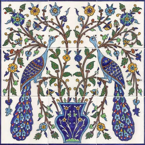"Armenian - Two elegant peacocks tile mural 18x18"" $315"