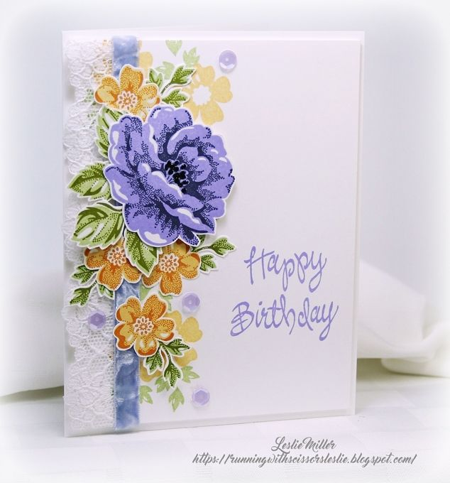 Adorable card using stippled blossoms