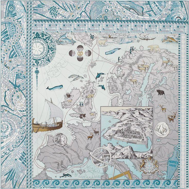 "36"" x 36"" scarf Hermès | Le Voyage de Pytheas by Aline Honore SS 2014 CW 09 blanc/bleu glacier/gris"