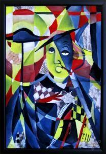 """Markéta Cenkerová (psi_decka) - """"PRÁVNÍK PÍŠE ČLÁNEK DO NOVIN"""", kubismus"""