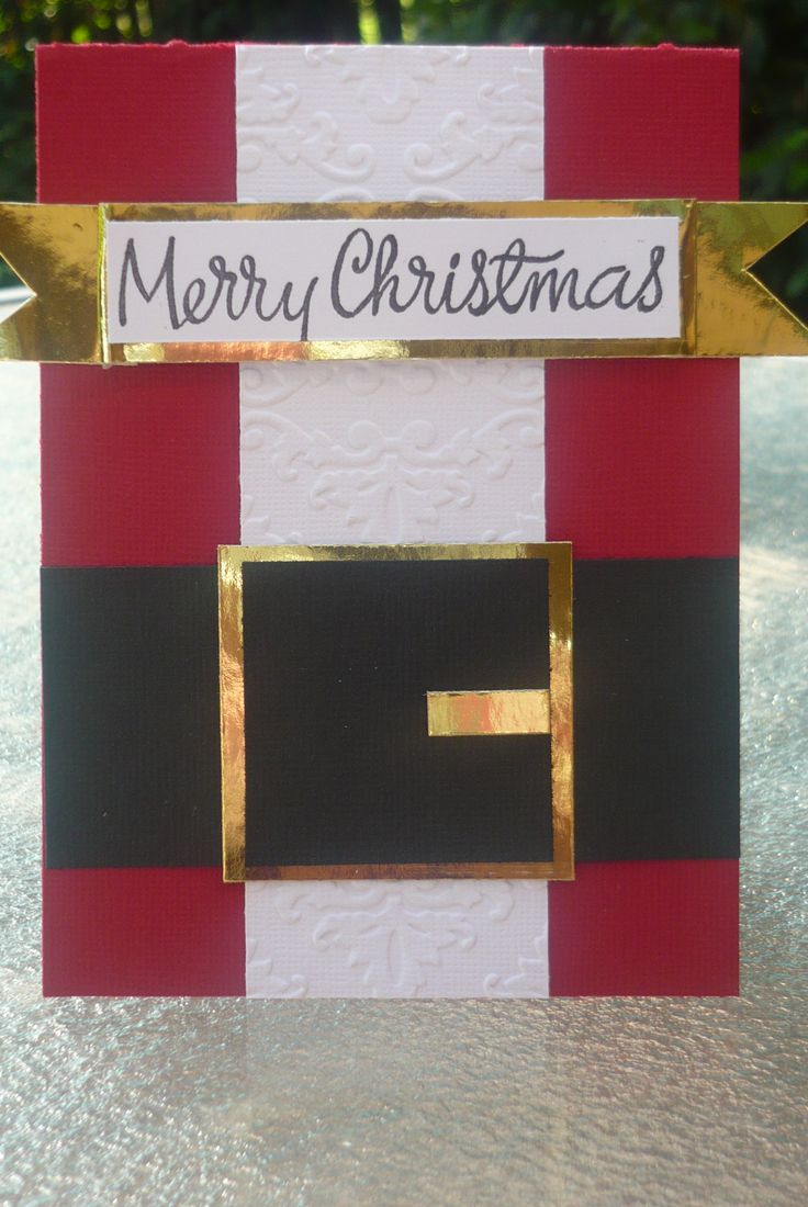 Using Kaszazz products Ezy Press embossing folder Santa Suit card. Made by Kathryn James Oct 2013.