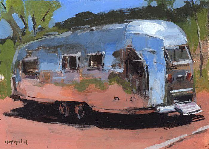 Art Print Painting Retro Airstream Desert Auto Camping Outdoors - 5x7 on 8x10 - Airstream at Palo Duro by David Lloyd. , via Etsy.