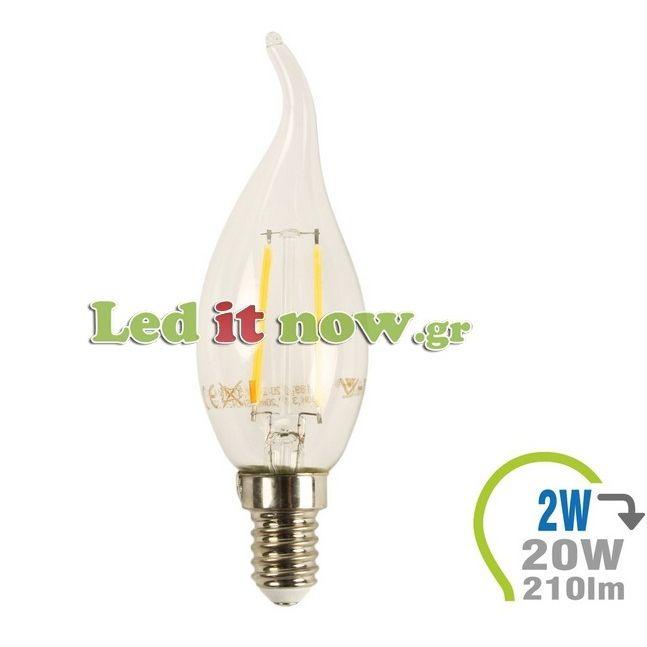 LED V-TAC Λαμπα E14 4watt κερακι Retro Look Edison Φλόγα