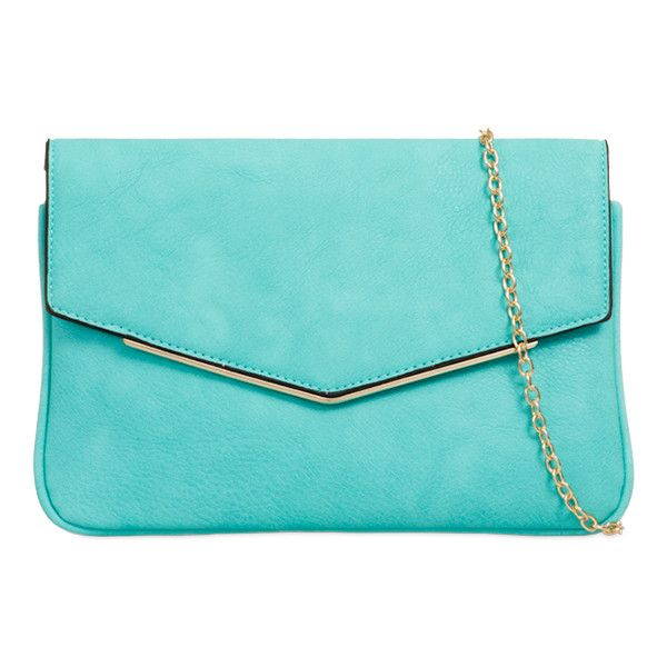 Vix Faux Leather Clutch in Mint (£22) ❤ liked on Polyvore featuring bags, handbags, clutches, blue clutches, vegan handbags, mint green purse, blue handbags and envelope clutch bags
