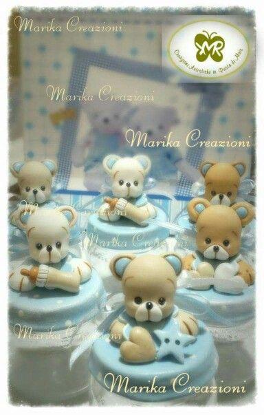 vasetti orsetto  portaconfetti Marika Creazioni in Pasta di Mais