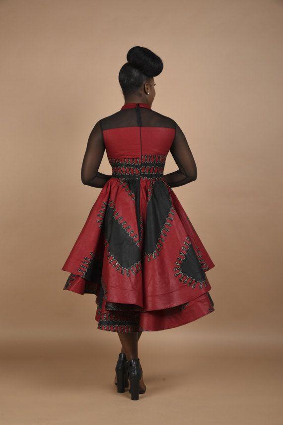 Vestido de malla de Borgoña Rahyma