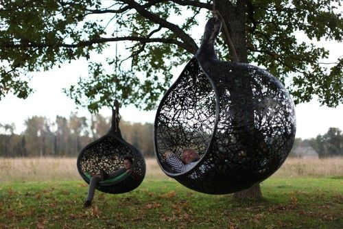 Now these chairs are just cool. You can hang them in a tree or on the porch.. contemporary outdoor chairs by Maffam