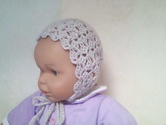 Béguin/bonnet  de printemps en dentelle en laine pour bébé 3