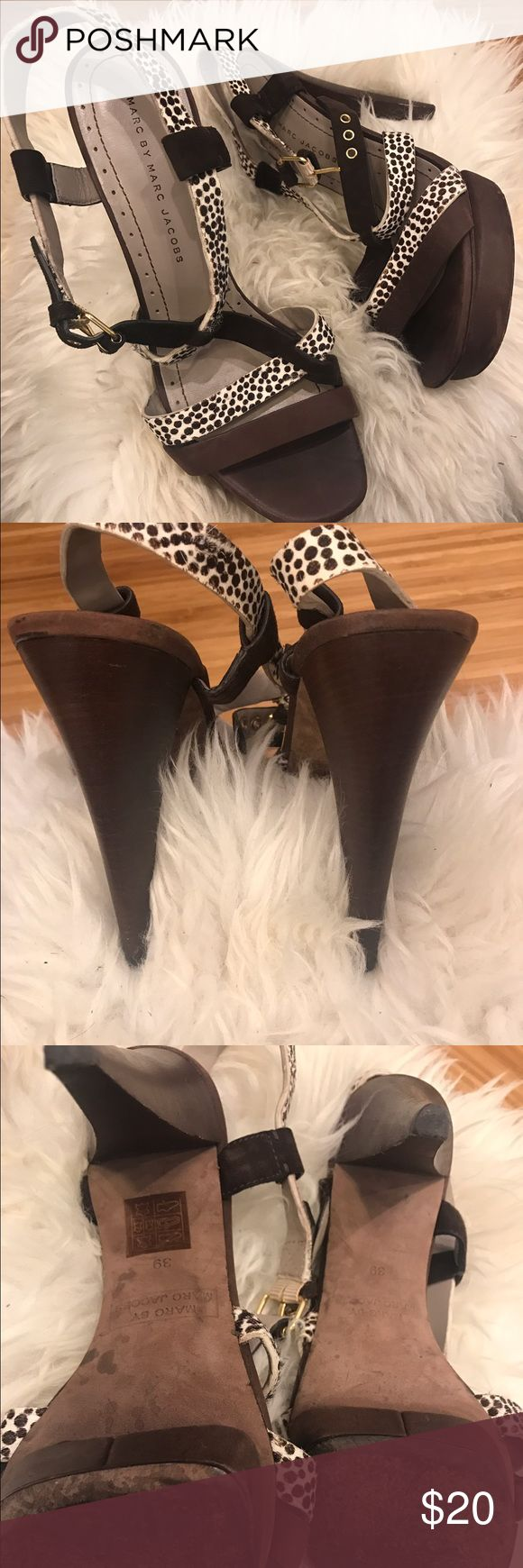 Marc by Marc Jacobs high heel sandals. All leather, upper and sole with plattform. Gently used ( 2 events) Marc by Marc Jacobs Shoes Sandals