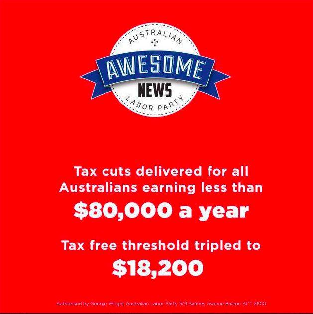 """ALP FB - """"It's Awesome News"""" - tax cuts"""