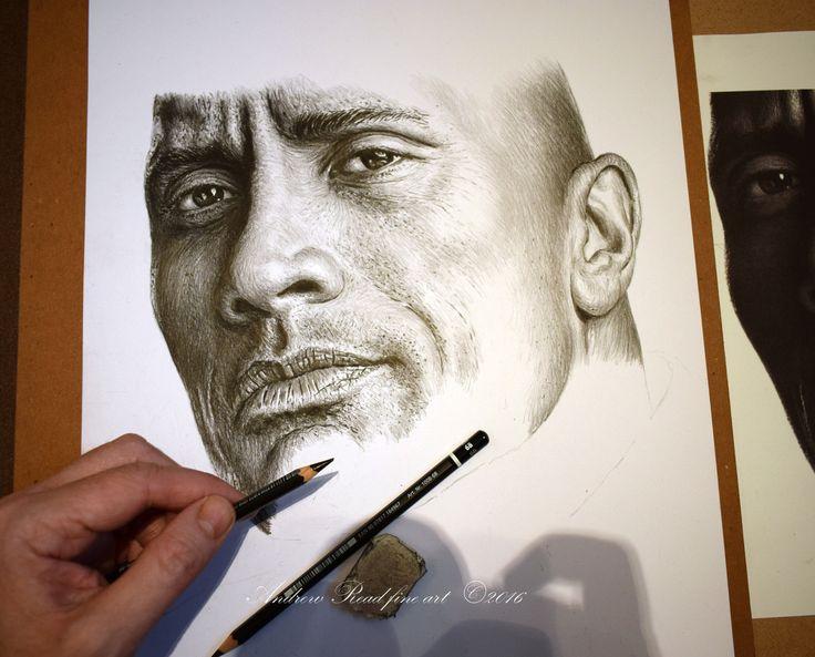 "Dwayne ""The Rock"" Johnson, pencil drawing work in progress a3"