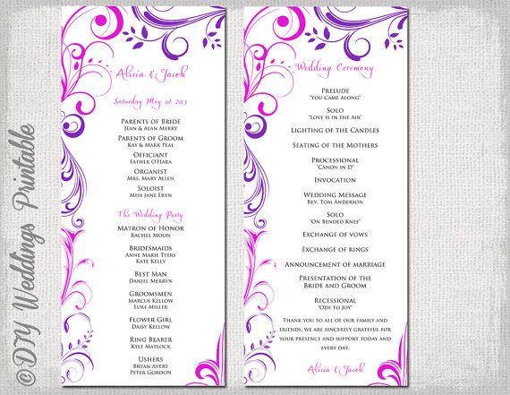 58 best Wedding Order of Service images on Pinterest Wedding - printable program templates