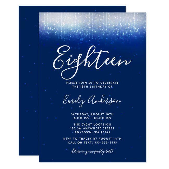 glam navy blue 18th birthday invitation