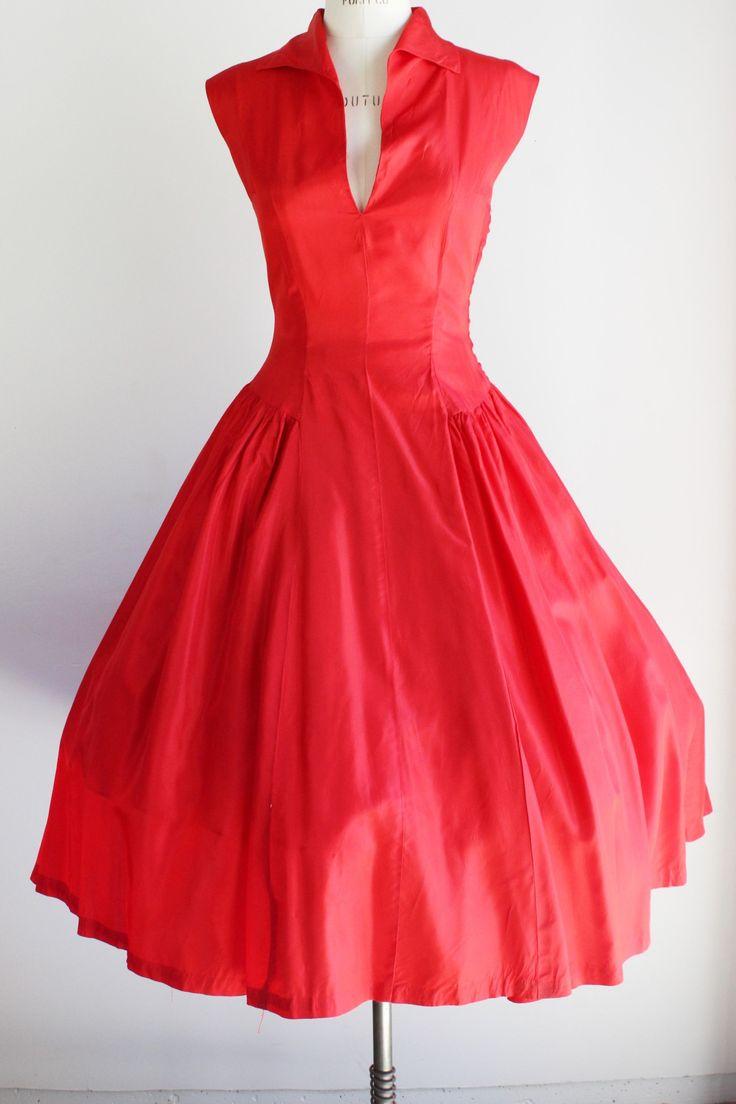 Vintage 1940s Red Taffeta Party Dress