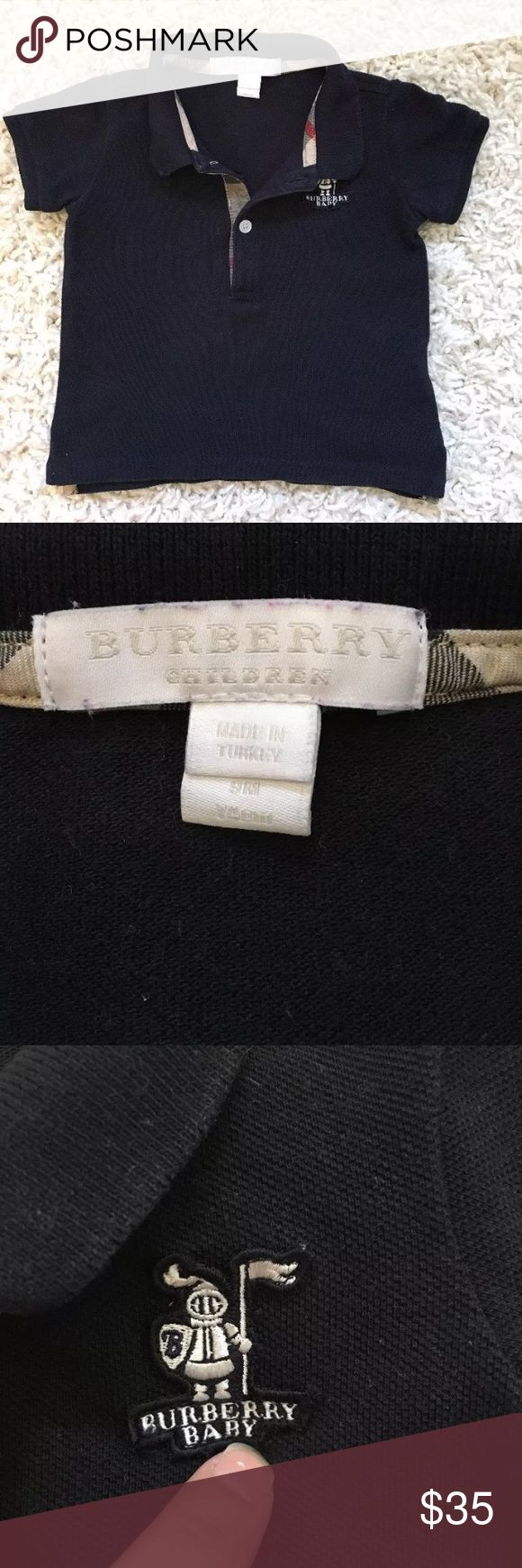 Burberry baby navy polo 6-9 months Worn couple times. No stains. Says sz 9 but more like 6-7months. Sightly faded from washing Burberry Shirts & Tops Polos
