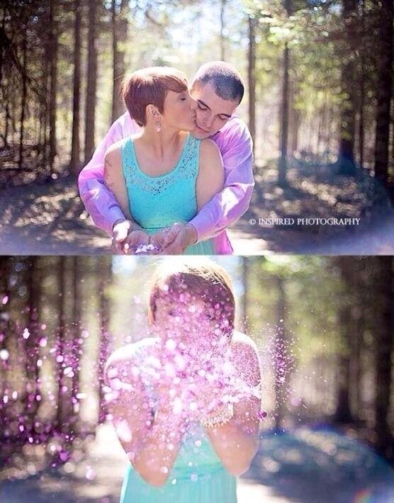 Cute! Glitter gender reveal photo.