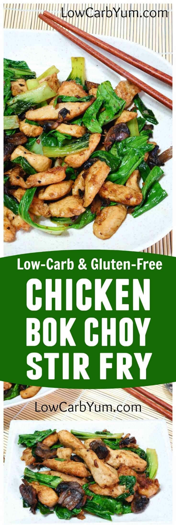 A delicious low carb and gluten free chicken bok choy stir fry recipe. The meat is dipped in egg yolks and coconut flour instead of the traditional corn starch mix. | LowCarbYum.com