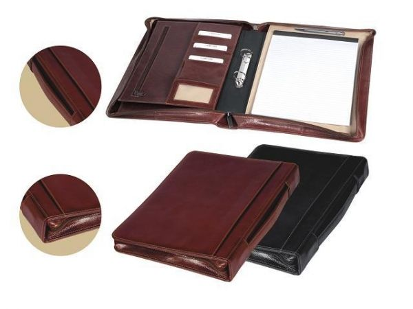 A4 Folder Elegance Compendium with Handle and Ring Mechanism Handle on spine to carry like a briefcase Extra Wide Leather Gusset Ring Binder Business Card / Credit Card Pockets Pen Loop Brand by Embossing Gift Boxed Dimensions : 280 × 50 × 370mm (W x D x H) Black