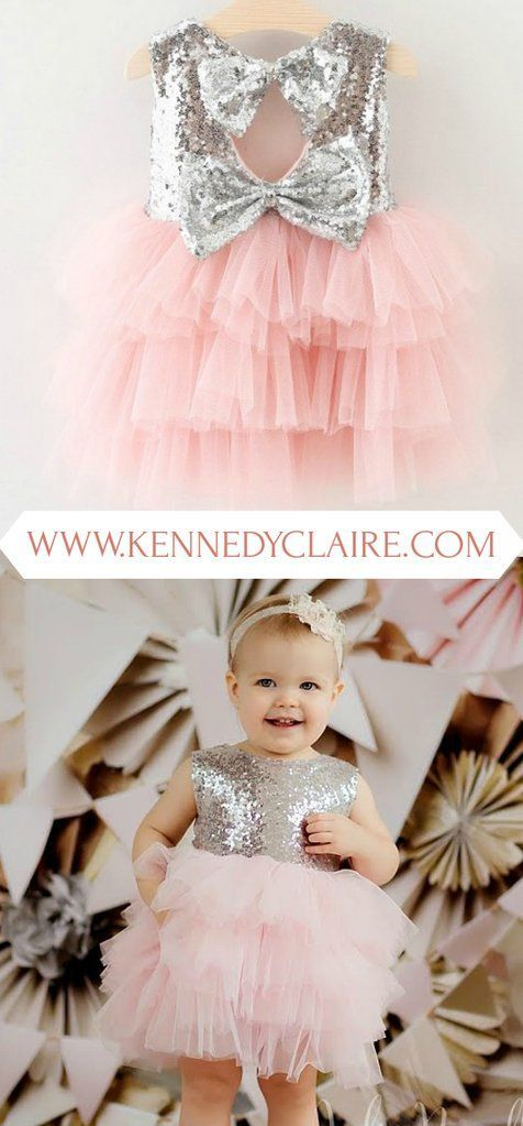 Silver and Pink Tutu Dress for Baby Girl First Birthday Dress Fancy Toddler Dresses Sequin Tutu Dresses