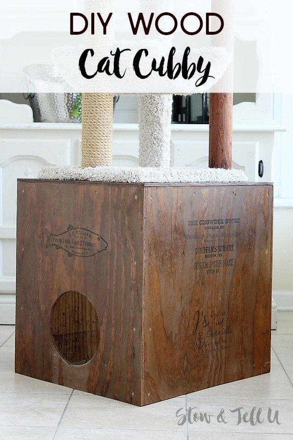 Diy Wooden Crate Style Cat Cubby Made With Plywood Diy Wooden Crate Wooden Diy Wood Diy