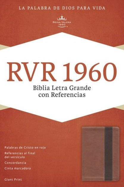 Spanish - RVR 1960 Giant Print Reference Bible-Copper/Dark Brow LeatherTouch (Biblia Letra Grande Con Referencias)
