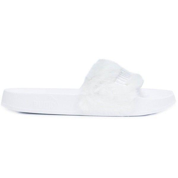 Puma Puma X Rihanna 'Fenty' sliders ($97) ❤ liked on Polyvore featuring shoes, white, puma footwear, white shoes and puma shoes