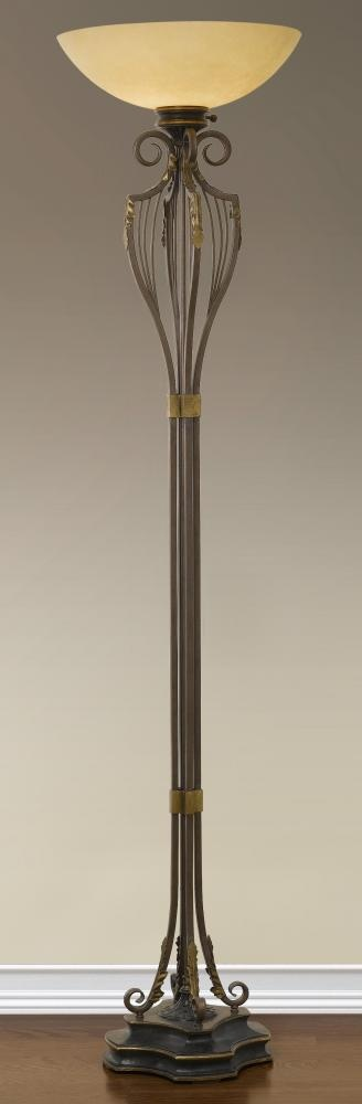 """Murray Feiss """"Augustine"""" traditional floor lamp. Antique brown finish with round speckled champagne scavo glass. 77.5""""h Only One Left! Reg. Price 1298.40 Our Price $931.70"""