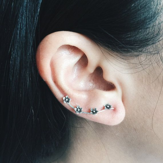 Sterling silver tiny flower ear climber tiny by SilverCartel