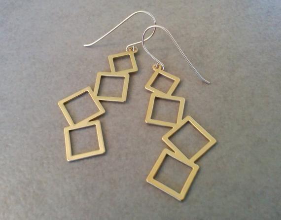 Gold Square Earrings Gold Earrings Dangle Earrings Gold Etsy Gold Earrings Dangle Jewelry Earrings Dangle Geometric Earrings