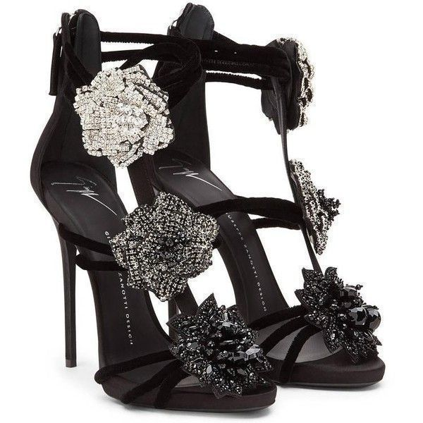 Giuseppe Zanotti New Black Crystal Flower Evening Sandals Heels in Box ($2,225) ❤ liked on Polyvore featuring shoes, sandals, black evening sandals, giuseppe zanotti sandals, evening shoes, black shoes and cocktail shoes #giuseppezanottiheelssilver #giuseppezanottiheelssandals