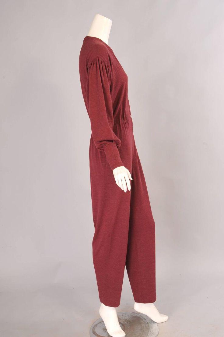 Modern dressmaker buttons - Jean Muir Burgundy Wool Jumpsuit