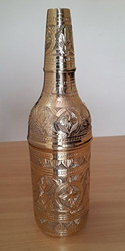 Handmade Vintage Decorative Antique Wine Bottle for Home Living Room Decor Fine Crafted by Traditional Artist Made in India with Solid Brass Material Gold ** Visit the image link more details.