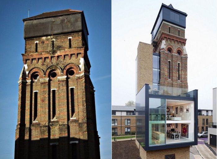 Старая водонапорная башня, реконструированная в современный жилой дом.
