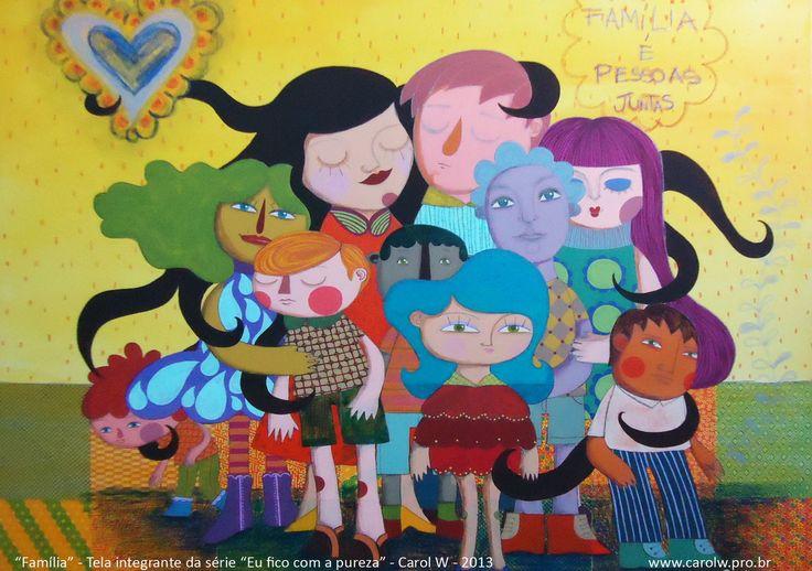 """Postal integrante da série """"Eu fico com a pureza"""" de Carol W <br>""""Família é pessoas juntas"""" frase da Ana, 6 anos do Colégio Rosário <br>Sobre o projeto: <br>Em setembro de 2013, lancei a exposição """"Eu fico com a Pureza"""" na galeria Urban Arts em Porto Alegre. O projeto que originou a mostra foi inspirado no livro """"Casa das Estrelas: o universo contado pelas crianças"""", do professor colombiano Javier Naranjo. Já o nome foi extraído da música """"O que é, o que é?"""", do cantor Gonzaguinha. <br>Foi…"""