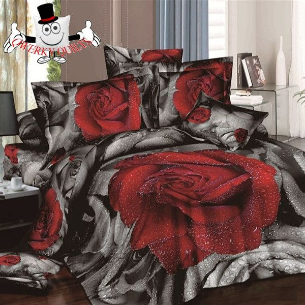 3D Black Red Rose Black  Bedding Set and Quilt Cover Buy Here: http://www.qwerkyquilts.com/collections/floral-quilt-cover-designs/products/3d-black-red-rose-black-bedding-set-and-quilt-cover