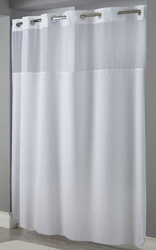 Hookless Mystery White Shower Curtain Focus Products Group: Has Magnets?  With Or Without Liner
