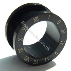 Black Anodized Roman Numerals Steel Screw Ear Tunnel Plug 3mm - 20mm