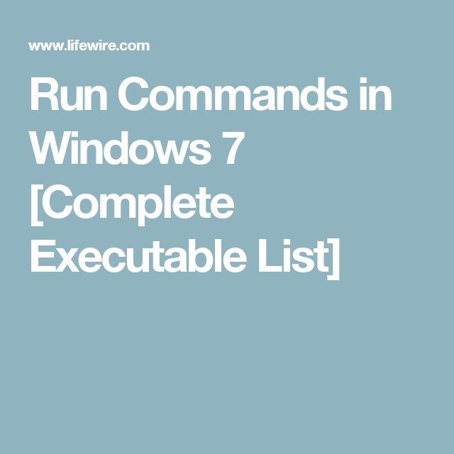 run commands in windows 7 complete executable list