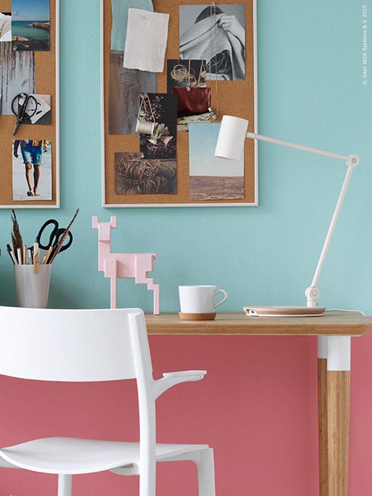 studio desk, cork boards, paint colors.