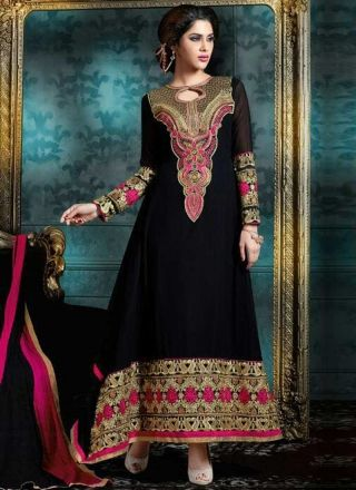 Black Embroidery Work Georgette Designer Long Anarkali Gown Suit http://www.angelnx.com/Salwar-Kameez/Anarkali-Suits