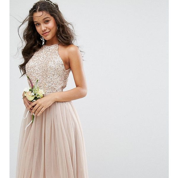 Maya High Neck Midi Tulle Dress With Tonal Delicate Sequins ($100) ❤ liked on Polyvore featuring dresses, brown, petite, sequin dress, sequin maxi dress, petite maxi dresses, petite dresses and petite prom dresses