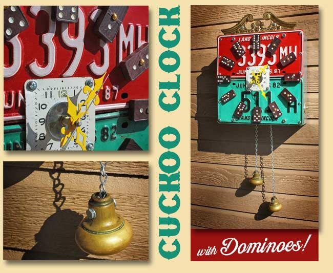 Cool cuckoo clock: Dominoes Cuckoo Clock, House Ideas, Liceseplatecuckooclock Jpg, Cuckoo Clocks, Backyard, Craft Ideas, Upcycled Clock, Dominoes Idea