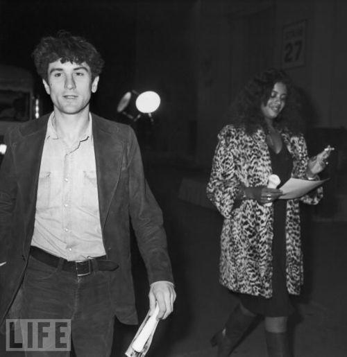Robert De Niro and wife, Diahnne Abbott, 1975.