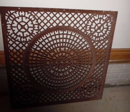 Large Antique Cast Iron Cold Air Return Victorian Floor Grate Vent Old 31x31 Great