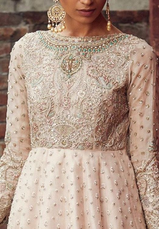Cream gown pearl embroidery