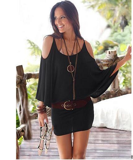 O-neck Black Batwing Off Shoulder Fake Two Piece Sheath Mini Dresses Summer Plus…