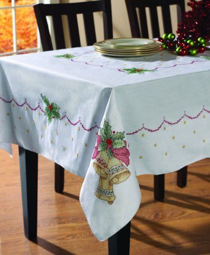 Bucilla 86286 Christmas Bells Stamped Cross Stitch Tablecloth, 60-Inch by 104-Inch for $25.26