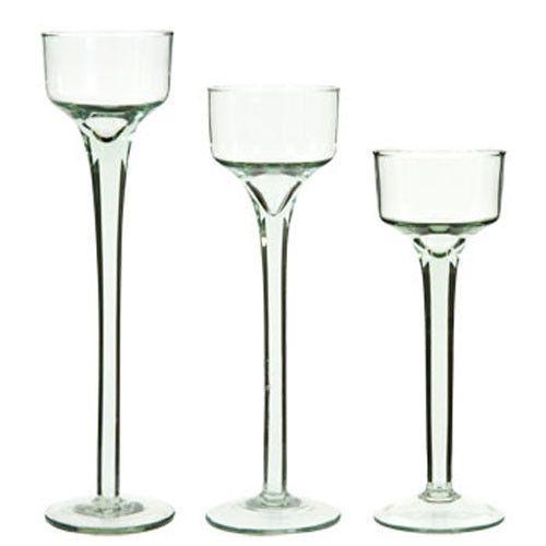 ebay 48 bulk long stem glass tealight candleholders 2 boxes of 24pcs candles 3 sizes 6 7. Black Bedroom Furniture Sets. Home Design Ideas