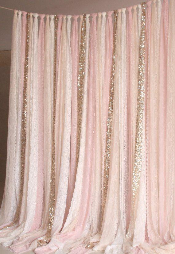 blass rosa weiße Spitze, gold Glanz Stoff Photobooth Hintergrund Hochzeit Zerem…